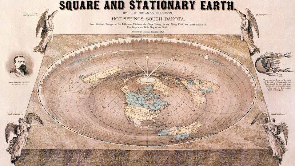Mapa Ziemi sporządzona przez prof. Orlando Fergusona w 1893 r.